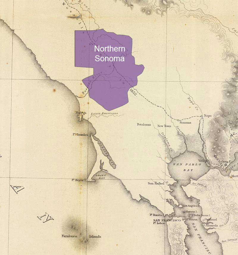 northern Sonoma map